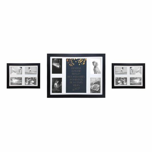 Kit Trio de Quadros Painéis de Parede para 12 fotos 10x15cm - Deveria existir Replay nos Melhores...