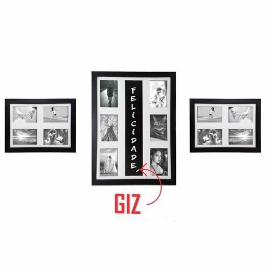 Kit Trio de Quadros Painéis de Parede para 14 fotos 10x15cm e Blackboard para Escrever com Giz