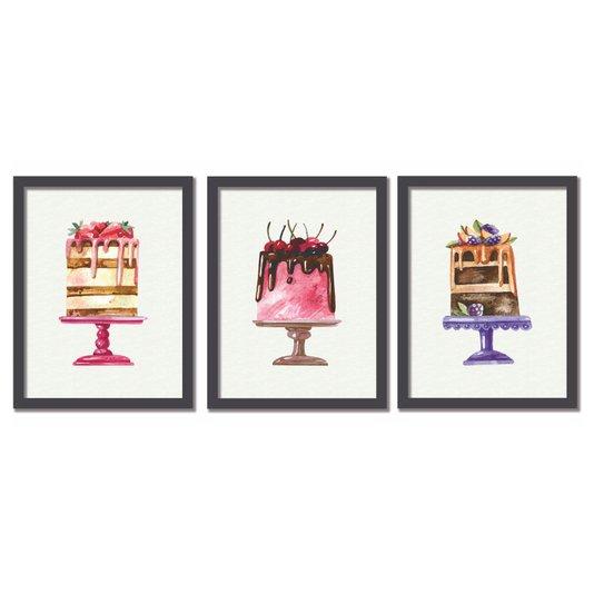 Kit Trio de Quadros Bolos Coloridos e Gostosos Watercolor