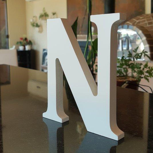Letra Decorativa N 15cm em Mdf Laqueado 15mm - Branco