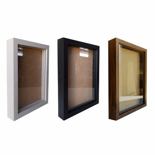 Moldura Caixa Alta com Vidro para Quadros Quilling e Scrapbook - Revestida - 1,5x3