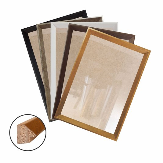 Moldura Chanfrada Inclinada para Quadros e Fotos com Fundo Mdf e Frente em Vidro - 1,5x2