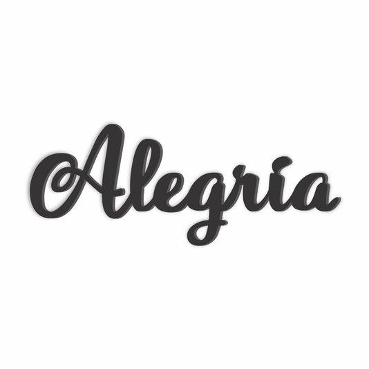 Palavra Decorativa Alegria Lettering Para Parede - Laqueado 6mm
