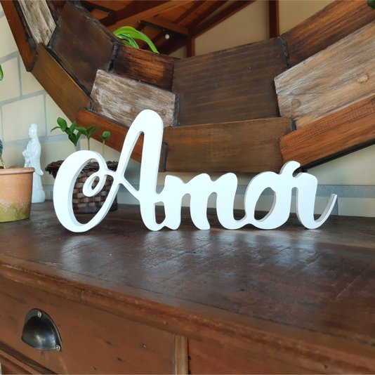 Palavra Decorativa Amor 35cm em Mdf Laqueado Branco 15mm