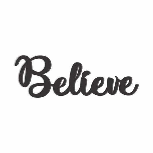 Palavra Decorativa Believe Lettering Para Parede - Laqueado 6mm