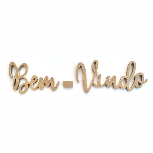 Palavra Decorativa Bem-Vindo Lettering Para Parede 35cm em Mdf Cru 6mm