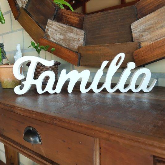 Palavra Decorativa Família 40cm em Mdf Laqueado Branco 15mm