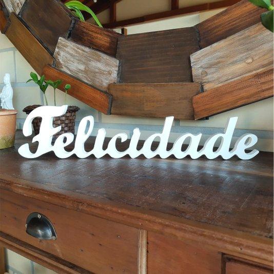 Palavra Decorativa Felicidade 45cm em Mdf Laqueado Branco 15mm