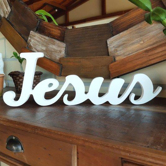 Palavra Decorativa Jesus 44cm em Mdf Laqueado Branco 15mm