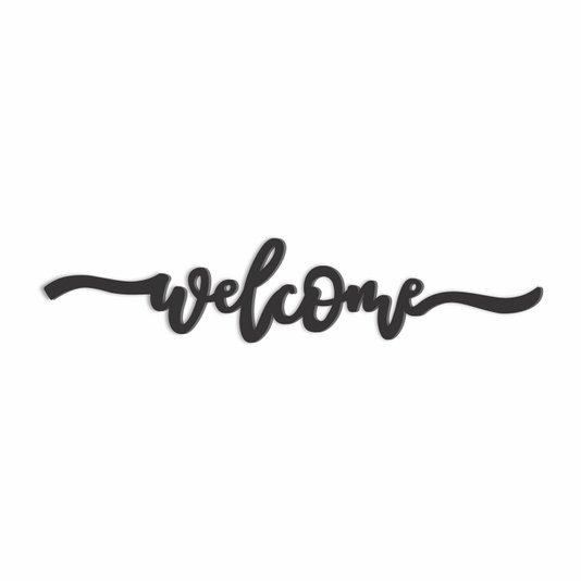 Palavra Decorativa Welcome Lettering Para Parede - Laqueado 6mm