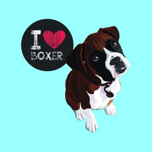 "Placa Decorativa Cachorro Frase: ""I Love Boxer"" Azul"