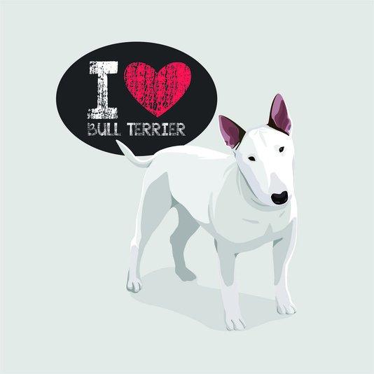 "Placa Decorativa Cachorro Frase: ""I Love Bull Terrier"" Cinza"