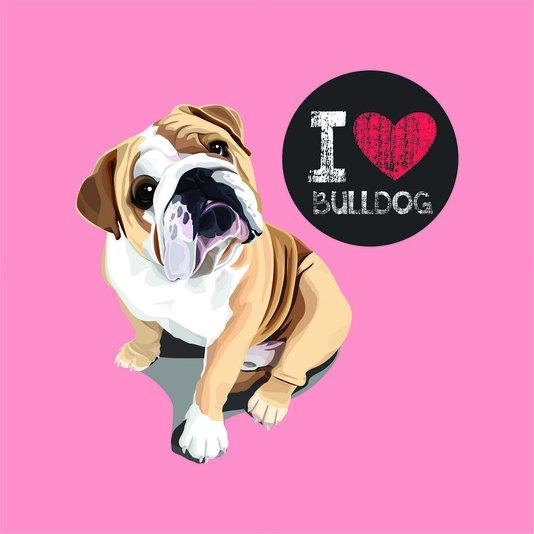 """Placa Decorativa Cachorro Frase: """"I Love Bulldog"""" Salmão"""