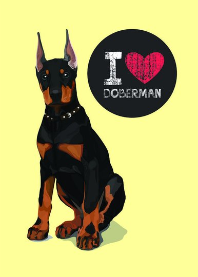 "Placa Decorativa Cachorro Frase: ""I Love Doberman"" Amarelo"