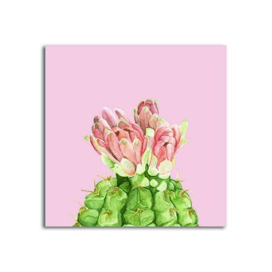 Placa Decorativa Cactus com Flores e Fundo Rosa