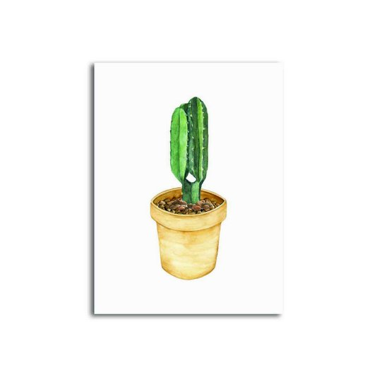 Placa Decorativa Cactus em Vaso Amarelo