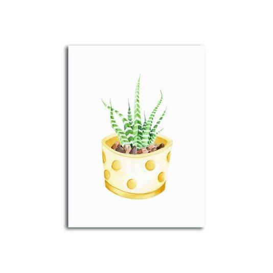 Placa Decorativa Cactus em Vaso Amarelo com Detalhes