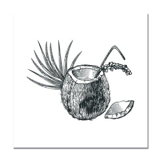 Placa Decorativa Coco Bebida Tropical