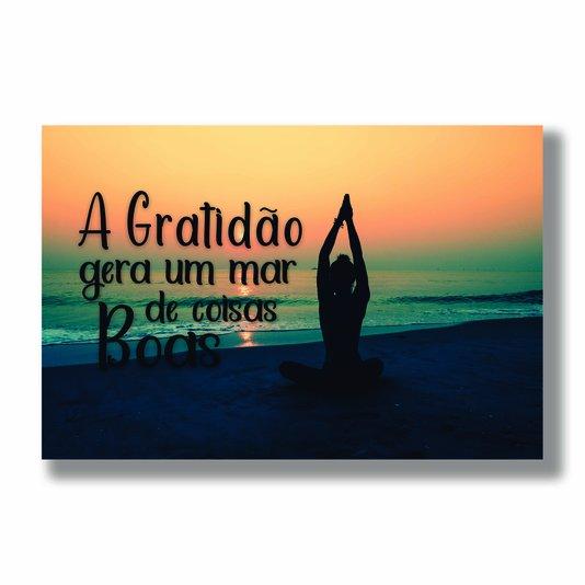 Placa Decorativa Coleção Mar A Gratidão Gera Um Mar...