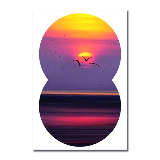 Placa Decorativa Coleção Mar Paisagem De Pássaros Voando