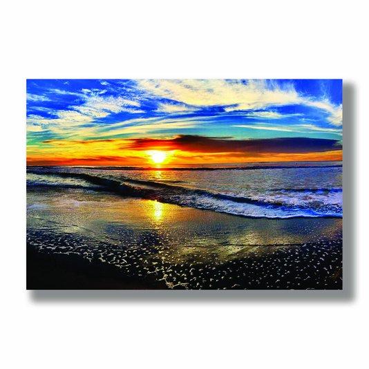 Placa Decorativa Coleção Mar Pôr Do Sol Na Praia