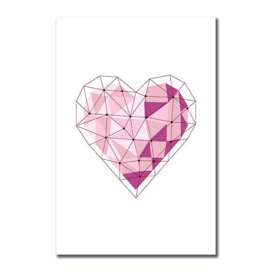 Placa Decorativa Coração Geométrico Tons de Rosa