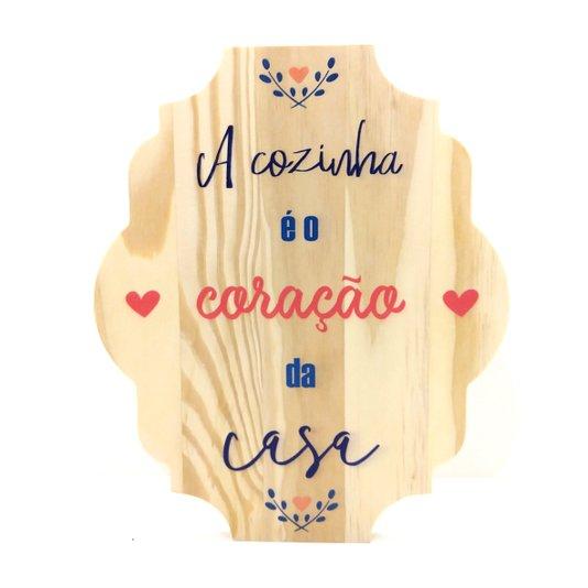 Placa Decorativa de Cozinha em Pinus A Cozinha é o Coração da Casa