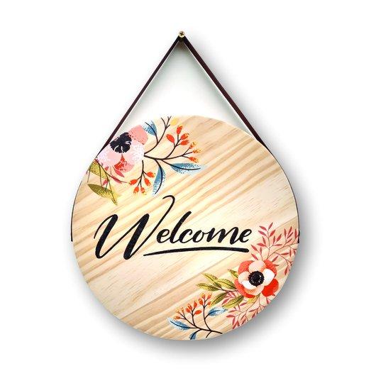 Placa Decorativa De Madeira Pinus Para Porta E Parede Welcome