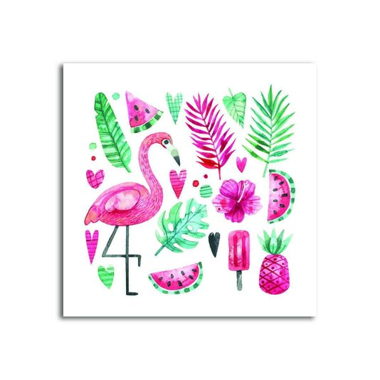 Placa Decorativa Flamingo com Flores e Frutas Tropicais