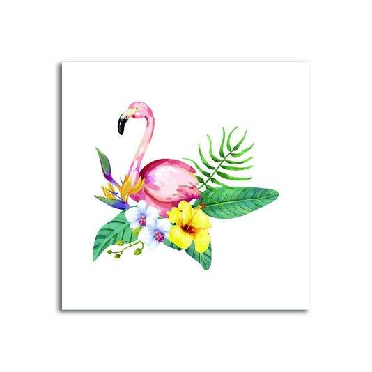 Placa Decorativa Flamingo com Flores Tropicais