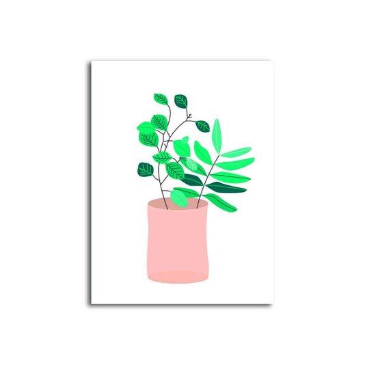 Placa Decorativa Flores Verdes em Vaso