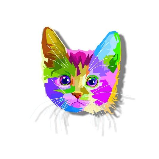 Placa Decorativa Gatinho Fofo Pop Art e Colorido
