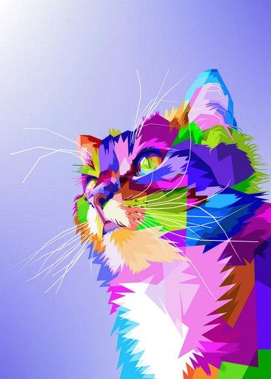 Placa Decorativa Gato Fofo Pop Art e Colorido Roxo