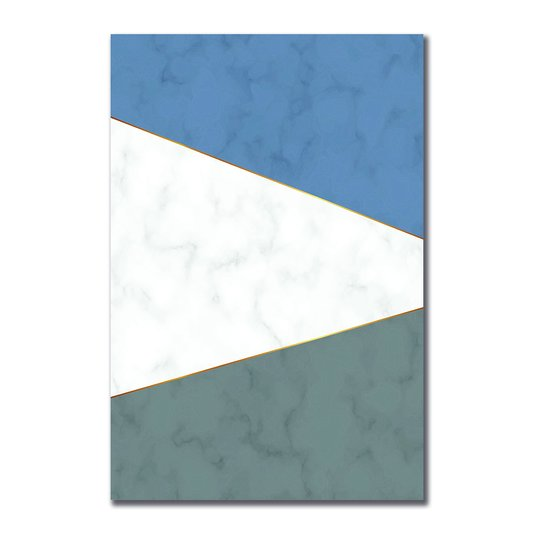 Placa Decorativa Geométrico Azul Com Cinza