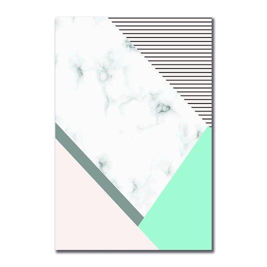 Placa Decorativa Geométrico Branco Marmore