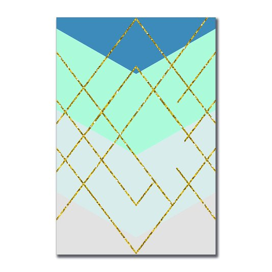 Placa Decorativa Geométrico Dourado Com Brilho