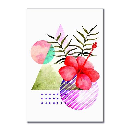 Placa Decorativa Geométrico Flor Vermelha