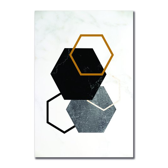 Placa Decorativa Geométrico Hexágono Tons Escuro