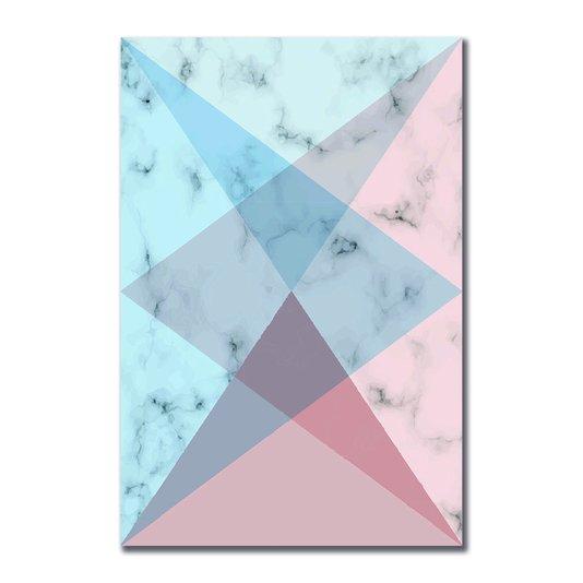 Placa Decorativa Geométrico Rosa Com Azul
