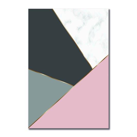 Placa Decorativa Geométrico Tons De Cinza Com Rosa