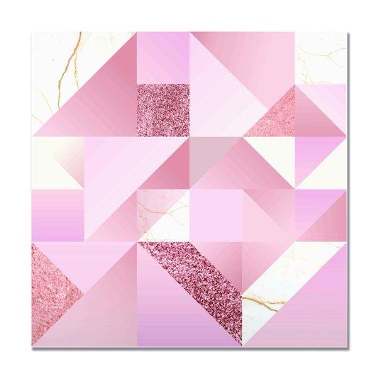 Placa Decorativa Geométrico Varias Formas Com Tom Rosa
