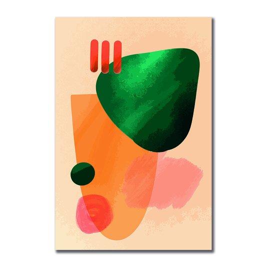 Placa Decorativa Geométrico Verde Com Laranja