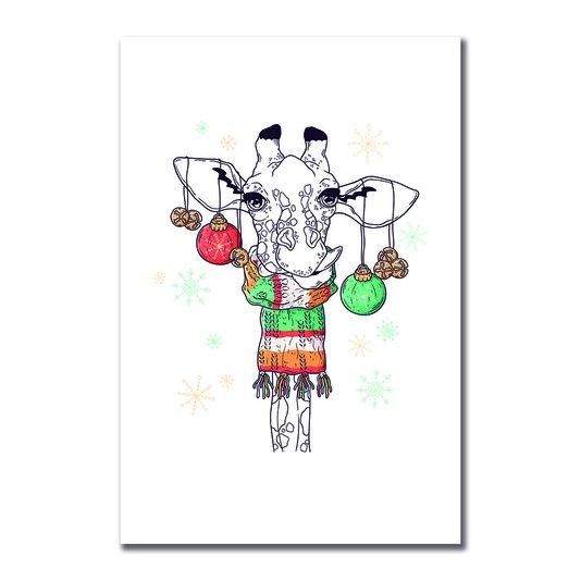 Placa Decorativa Girafa com Enfeites
