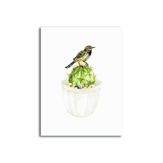 Placa Decorativa Pássaro Sobre Cactus