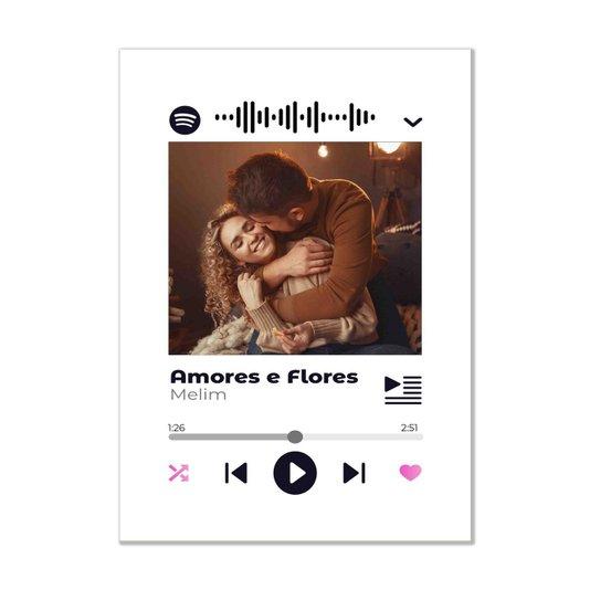 Placa Decorativa Personalizada Interativa com Código QR do Spotify - Fundo Branco