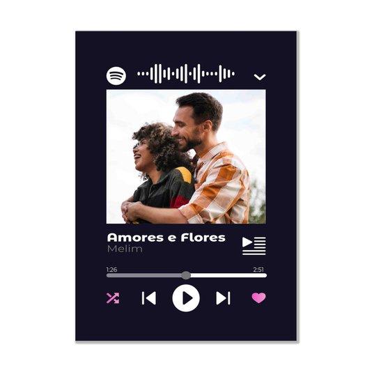 Placa Decorativa Personalizada Interativa com Código QR do Spotify - Fundo Preto