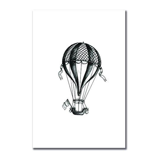 Placa Decorativa Preto e Branco Balão a Gás Vintage