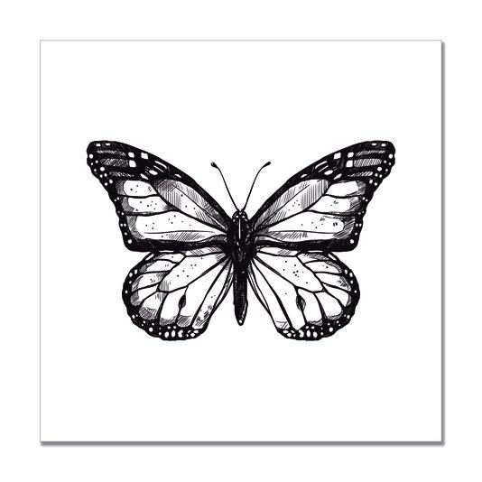 Placa Decorativa Preto e Branco Borboleta