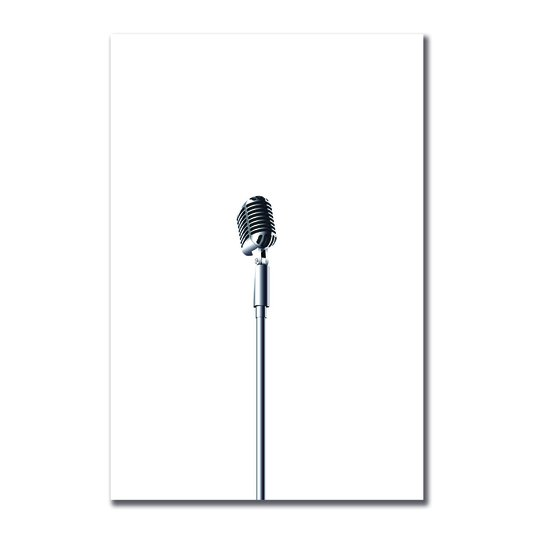 Placa Decorativa Preto e Branco Microfone Antigo Vintage