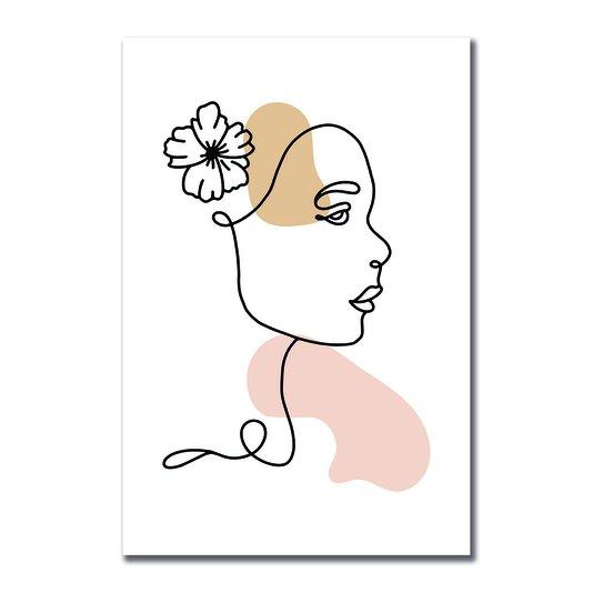 Placa Decorativa Silhueta Flor No Cabelo